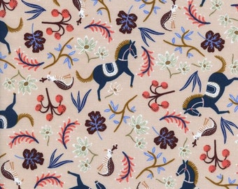 Cream Navy and Coral Floral Horse Cotton Fabric, Les Fleurs by Rifle Paper Co for Cotton and Steel, Carousel in Blush, 1 Yard