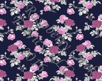 Navy Purple Magenta and Grey Rose Floral 4 Way Stretch Jersey Knit Fabric, Club Fabrics PRE-ORDER
