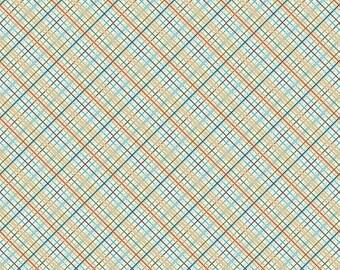 Tan Aqua Red and Green Plaid Fabric, Offshore by Deena Rutter for Riley Blake Design, Plaid Print in Tan, 1 Yard