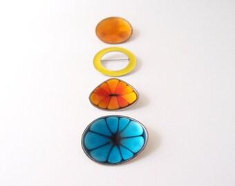 vintage Hogan Bolas Modernist enamel Brooch Pins