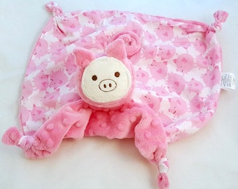 Unique Baby Gift, Baby Girl, Lovey Blanket, Security Blanket, Pig Stuffed Animal, Pig Blanket, Baby Toy, Plushie, Personalized Baby Gift