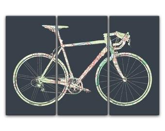 Sacramento California Street Map Road Bicycle Triptych Canvas Giclee - Dark Gray