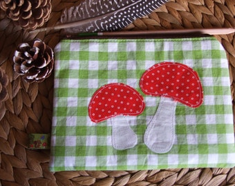 Zipper Pouch, Toadstools, Mushroom Applique, Forest, Woodland, Organizer, Kids, Travel, Spring Gift, Pencil Case
