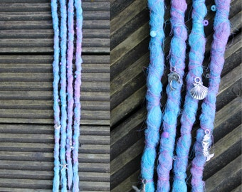 Ocean Clip in Crochet Synthetic Dreads - purple blue charms