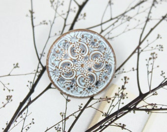 Metal Buttons - Flowery Engraving Metal Buttons , Blue Copper Color , Domed , Openwork , Shank , 0.71 inch , 10 pcs
