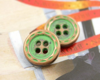Metal Buttons - Dotted Line Edge Metal Buttons ,  Copper with Green Color , 4 Holes , 0.47 inch , 10 pcs