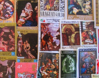 50 Vintage Religious Postage Stamps Christian Catholic Christmas Easter Nativity God Virgin Mary Pope Jesuit Jesus US Worldwide Philately 2