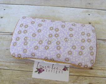 READY TO SHIP, Lavender Purple White and Metallic Gold Flowers Travel Baby Wipe Case, Personalized Baby Shower Gift, Wipe Holder, Wipecase