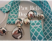 Dark Teal Quatrefoil Dog Training Bells, Paw Bells, Dog Potty Trainer,  Instructions included, FAST Shipping