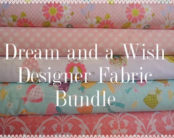 Dream and a Wish Princess Fabric Bundle, Designer Fabric by Riley Blake, Half Yard Bundle, 2 1/2 yard total