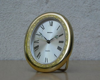 Swiza Solid Brass Oval Quartz Alarm Clock
