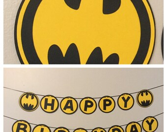 Batman Black and Yellow Happy Birthday Banner