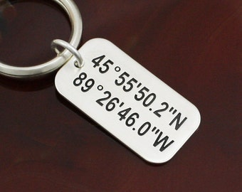 GPS Coordinates Key Ring - One to Three Charms