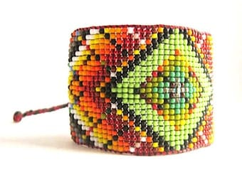 Huichol Inspired Contemporary Rainbow Mandala Beaded Bracelet  2