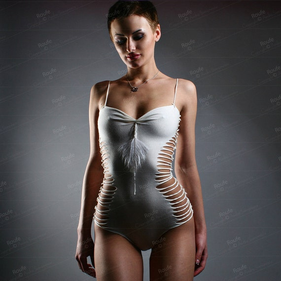 Feather Beaded  Body Cotton Jersey Strappy Teddy Embellished Bodysuit Sexy Leotard Mordern Camiknicker Flirty Onepiece Designer Lingerie