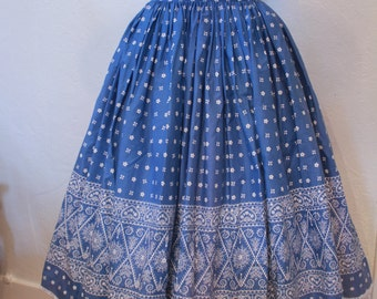 Vintage 1950s Blue Circle Skirt Blue Handkerchief Print Modern Jr. Gale and Gale XS