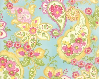 Colette Paisley Floral Sky Blue  Moda Quilt Fabric by the 1/2 yard #50-12