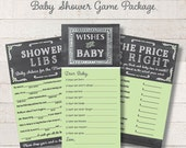 Chalkboard Baby Shower Game Package Set Green Printable Shower Games Wishes for Baby Game Price is Right Baby Mad Libs - INSTANT DOWNLOAD
