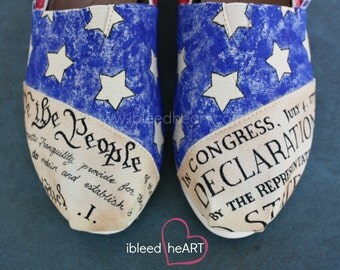 Patriotic Vintage American Flag TOMS Shoes w/Declaration of Independence & Constitution Custom Hand Painted - Old Glory - Stars and Stripes