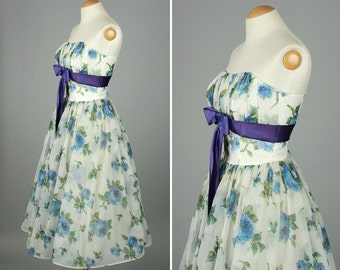 vintage 1950s dress xs • strapless party prom dress BLUE ROSES