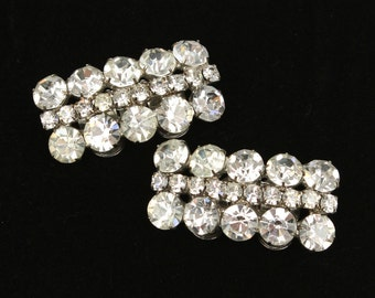 1960s vintage shoe clips • MUSI rhinestone designer statement jewelry