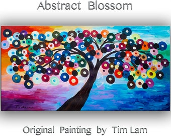 """Original abstract painting Tree Art colorful oil Painting on Ready to Hang linen canvas by Tim Lam 48""""  x 24"""""""
