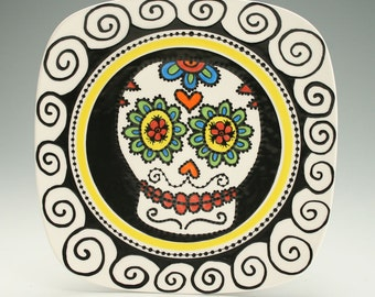 Day of the Dead Plate Sugar Skull Ceramic Square Sushi Plate, Halloween Decor Decorative Dinnerware