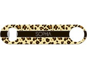 Personalized Beer Bottle Opener Monogram Name Animal Print 21st Birthday Bridesmaid Wedding Favor Barware Stainless Steel Bar Blade BO-1024