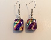Dichroic glass, handmade dichroic glass, dichroic glass jewelry, fused glass, Handmade fused glass, glass earrings, Dichroic Glass earrings