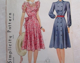 "Antique 1940 Simplicity Pattern #3383 - size 36"" Bust"