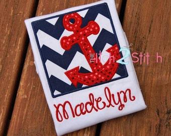 Women's Anchor Box Custom Applique Shirt - Nautical Anchor Shirt - Cruise Shirt - Free Optional Name Personalization