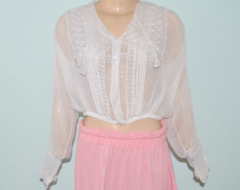 Antique Early 1900's Edwardian White Cotton Lace Inset Shirt Blouse Size 6 to 8