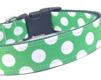 Custom Dog Collar - Green Polka Dots - Collar with Polka Dots - Bright Green and White Dog Collar - Collar with Dots