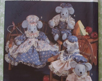 Stuffed Mice Dolls in Two Sizes and Clothes Vintage 1990's Simplicity Pattern 7596 UNCUT