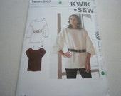 Pattern Ladies Women  Plus Size Tunic Top 2 Styles Sizes XS to XL Kwik Sew 3537