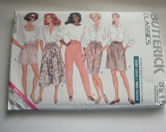 Pattern Vintage  1989 Classic Shorts Pants Skirts Sizes 6 to 22 Butterick  3215
