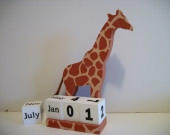 Giraffe Calendar Perpetual Wood Block Giraffe Decor