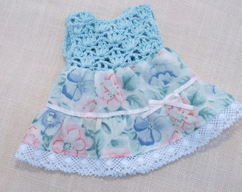 Waldrf Doll Clothes Blue Dolls Dress Cotton Crochet and cotton fabric dress,fits 9- 10 inch dolls