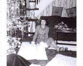 Vintage Photo - Opening Presents - Vintage Photograph, Ephemera, Snapshots, Vernacular (C)