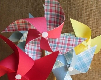 SALE 50% OFF Paper Pinwheels Birthday Favors 8 Pinwheels Birthday Gingham Plaid Party Favors Baby Shower Favors Table Centerpiece Wedding De