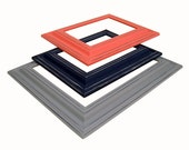 Picture Frame 8x10 Picture Frames Navy and Coral Gray or Custom Picture Frame 5x7 Navy and Coral Nursery Wall Decor Wedding Wide Wood Frames