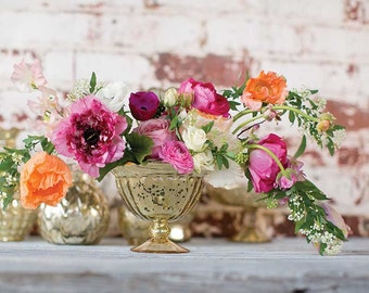 Compote, mercury glass compote, gold compote, gold vase, autumn centerpiece, wedding centerpiece, vase, flower vase, footed vase, roses,