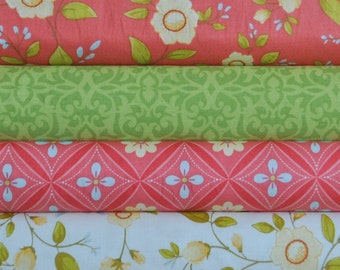 Daydream Tomato 4 Fat Quarters Bundle by Stitch Studios for Riley Blake, 1  1/2 yards total