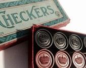 BAKELITE Checkers, 1930s-1940s, Wonderful Vintage Set in Original Papered Box