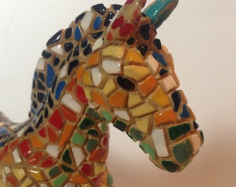 """Ceramic Horse, Multi-Color, Made to Look """"Tiled"""", Very Unusual and Beautiful!"""