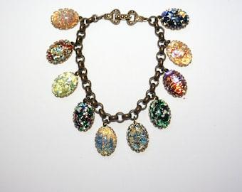Artisan vintage Czech foiled art glass opal specimen dragons breath bracelet