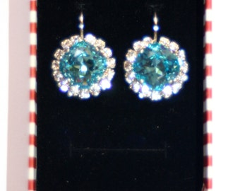 Swarovski cluster Light Turquoise clear crystal bezel silver formal earrings