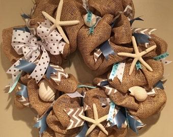 Burlap beachy blue polka dot wreath