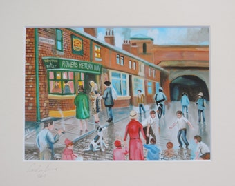 Coronation Street signed mounted print from original painting Gordon Bruce new art