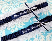 lacy Navy and white Anchor garter set, You're next garter set, Beach garter set, nautical garter set, Sailor garter set, white